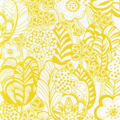 Yellow Floral Foliage Fabric - click to enlarge