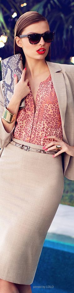 Work outfit: beige pencil skirt, print blouse
