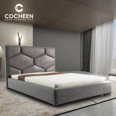 Modern Upholstered Bed owns Linen Fabric Soft Headboard, catching the current modern bed trend. Since we only manufacture & design high-end furnishing Bed Headboard Design, Bedroom Bed Design, Room Ideas Bedroom, Headboards For Beds, Home Decor Bedroom, Headboard Frame, Headboard Ideas, Bed Furniture, Furniture Design