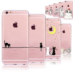 Cute Cats Phone Cases For iphone 6 6S 7 7PLUS 5 5S SE 6PLUS 6SPlus Funny Cat Animals Clear TPU Cover Coque For iphone 6 Case