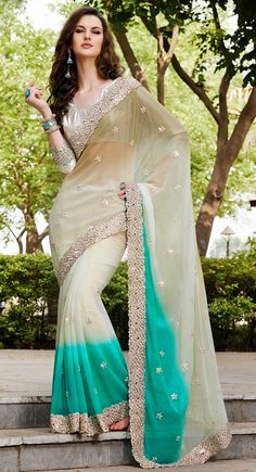 Beige and Blue color Party Wear Saree-Georgette Embroidered #Saree