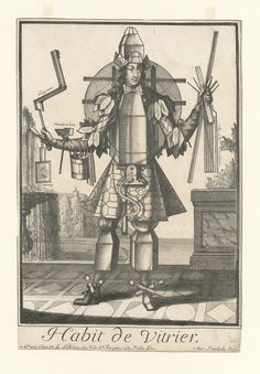 Habit de vitrier shows a glazier dressed in a costume made from the tools of his trade, by Nicholas de Larmessin, c.1680-1695 | Rakow Research Library (CMGL 137235)
