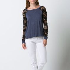 """LOWEST """"Little Dreamer"""" Lace Sleeve Baseball Top Lace sleeve baseball tee. Casual and fun! Brand new without tags. Junior sizing. No trades. Bare Anthology Tops"""