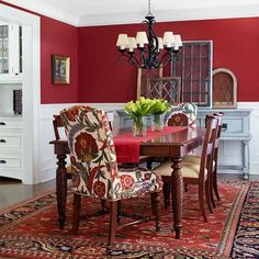 DINNING ROOM RED ACCENT WALL