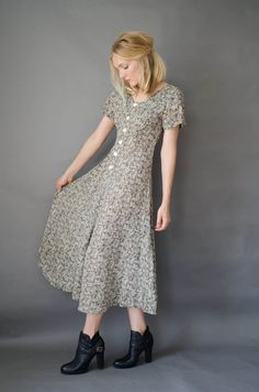 Grunge 90's Floral Green Maxi Ditzy Dress by GirlAndAGunVintage
