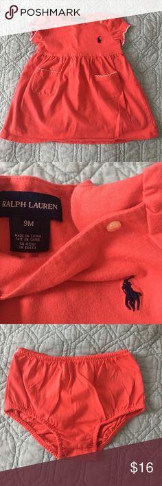 Ralph Lauren Baby Tee Dress with Bloomers EUC Ralph Lauren Baby Tee Dress with matching Bloomers! Color is Coral and Logo is Navy. Ralph Lauren Dresses Casual