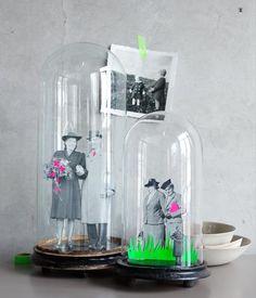 Oma & Opa unter Glas: Fotos auf dem Kopierer vergrößern und Figuren ausschneiden. Details wie Blumen, Gras oder Krawatte aus d-c-fix-Folie ausschneiden...