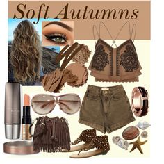 For Soft Autumns by prettyyourworld on Polyvore featuring River Island, American Apparel, Luo Luo, Rebecca Minkoff, Abercrombie & Fitch, Tom Ford, Bobbi Brown Cosmetics, Urban Decay, Vincent Longo and Moon Juice