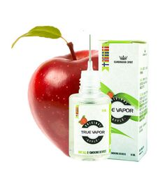 E-LIQUID - APPLE € 3.80 A quality e-liquid with natural fruit extracts. Apple flavour is among our most popular fruit flavours in the genre and is a safe choice. This E-liquid gives you a nice taste of real apple.  True Vapor is a Scandinavian company with Scandinavian sense of quality, and produces e-liquids of the very best quality. All e-liquids is manufactured and tested under strict conditions, so you as a consumer steams the best e-liquid without any chemical additives.