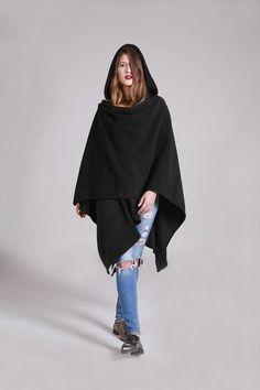 Black Fleece Hooded Shawl Black Shawl Hood Poncho Hooded