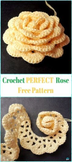 Perfect Crochet 3D Rose Flower Free Pattern #Crochet;