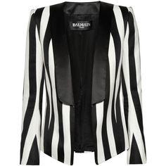 Balmain Black & White Striped Satin Jacket Blazer ($900) ❤ liked on Polyvore featuring outerwear, jackets, blazers, blazer, balmain, jackets and vest, black white, white and black blazer, satin blazer and stripe blazer