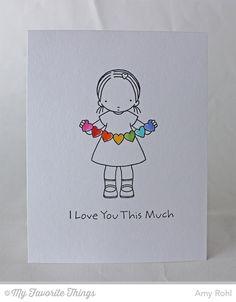 MFT Pure Innocence Heart Banner. -Amy Rohl #mftstamps #rainbow #heartbanner