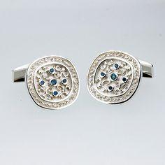 Men's white gold filigree cufflinks with teal diamonds by TorkkeliJewellery