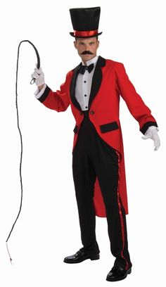 Ringmaster Mens Circus Costume - Step into the dangerous ring with this fun and daring Ringmaster costume. Comes with Jacket with shirt front, cummerbund and pants. This Ringmaster costume is great for circus themes, birthday parties and Halloween. Pair it with a top hat, gloves and a whip for a fun look as well. #YYC #Calgary #costume #Ringmaster #Circus