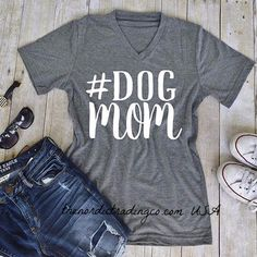Mother's T Shirt # DOG MOM & Silver Paw Print Earrings Free Mother's Day Gift SS Tee Shirt
