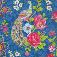 PI52 - Eijffinger PIP studio Flowers in the mix donker blauw