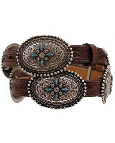 """<p>Bring some stylish flair to your outfit when wearing this women's brown leather belt. This  3/4"""" wide belt showcases beautiful designed conchos, with turquoise stones and rhinestone details, attached to the embossed weave strap. A matching and removable buckle allows size adjusting for secure and comfortable fitting. A stand out must have!</p>"""