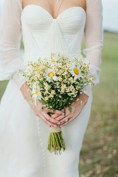 Rustic/Shabby Chic/Boho/Country Wedding Bouquet Showcasing: White/Yellow Daisies (Chrysanthemums), White/Yellow Chamomile Daisies Hand Tied With Twine