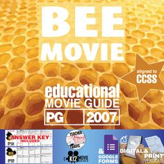 #Bee Movie Movie Guide | Questions | Worksheet (PG - 2007) challenges students to learn alongside Barry as he struggles with his future, responsibility to his species, and how to fix his mistake. #BeeMovie #JerrySeinfeld #RenéeZellweger #MatthewBroderick #ChrisRock #Teachers #MovieGuides #LessonPlans #TPT #TeachersPayTeachers #CCSS #CoronaVirus #Homeschooling #RemoteLearning #DistanceLearning #StaySafe
