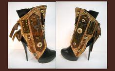 By J. Souza - Steampunk - spats- one-of a kind- ref st09- sale. $159.00, via Etsy.
