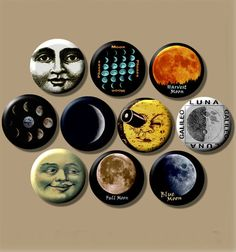 "THE MOON Lunar cosmic 10 Pinback 1"" Buttons Badges Pins"