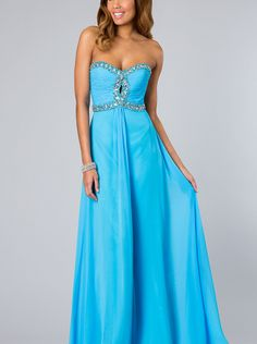 A-line Sweetheart Blue Chiffon Prom Dress /Formal Dress/Evening dress FA-7366