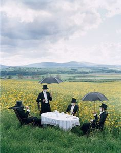 The butlers are allergic to grass, but simply refused to take their tea inside!