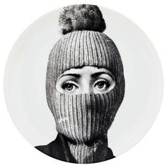 Fornasetti Porcelain Wall Plate - houzz.com - Cavalieri in a ski mask! Why not? I just love this!