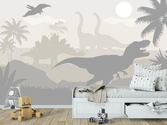Pastel Kids Wallpaper Art Mural - Dinosaur Wallpaper Baby Boy Rooom - Dino Decoration Boys Bedroom -