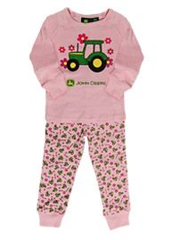 Infant/Toddler Light Pink John Deere Tractor and Flowers Pajamas