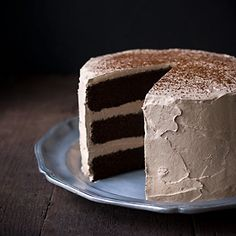 Chocolate Espresso Layer Cake - a rich, moist chocolate layer cake with the addition of fresh brewed espresso, espresso powder and vodka