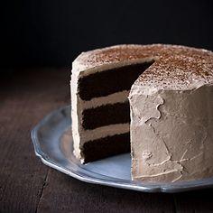 Chocolate Espresso Layer Cake - a rich, moist chocolate layer cake with the addition of fresh brewed espresso, espresso powder and vodka