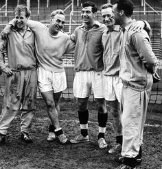 England players Bobby Charlton, Billy Wright, Johnny Haynes, Tom Finney and Nat Lofthouse. Training at White Hart Lane before facing Russia, October 1958.