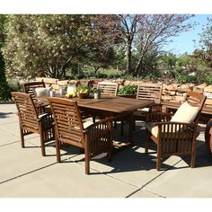 Create an additional dining space on any deck or patio with this seven-piece dining set. Constructed from  acacia hardwood, this set is naturally sturdy yet stylish. Entertain additional guests with an extendable table with a hide-away butterfly leaf.