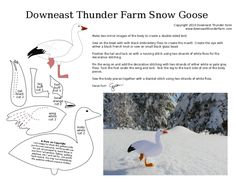 Sewing Animals Patterns snow goose printable PDF pattern - I've been thinking about drawing this Snow Goose since last spring when I spied a lone snow goose swimming among a flock of Canadian Geese. It was my first sighting of one and he looked entir… Bird Applique, Wool Applique Patterns, Felt Animal Patterns, Bird Patterns, Bird Christmas Ornaments, Felt Ornaments, Bird Template, Crown Template, Heart Template