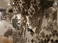 """Soo Sunny Park, """"Fractal Immersions,"""" 2007, Sheetrock, egg crate and air conditioning filters, installation-dimension variable, courtesy Reeves Contemporary"""