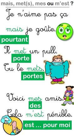 Educational infographic : Affiche pour les homophones mais/met(s)/mes et mest French Language Lessons, French Language Learning, French Lessons, French Teacher, Teaching French, How To Speak French, Learn French, Les Homophones, French Expressions