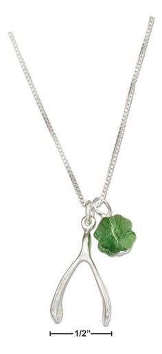 """Sterling Silver 18"""" Wishbone Necklace With Four Leaf Clover Green Crystal Pendant"""