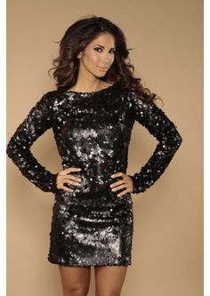 Gold sequin dress and black tights and heels