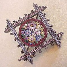 Victorian 800 Silver Micro-Mosaic Brooch ~ Amazing Detail!