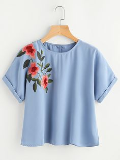 Casual Floral Top Regular Fit Round Neck Short Sleeve Roll Up Sleeve Blue Flower Embroidered Cuffed Sleeve Top Girls Fashion Clothes, Teen Fashion Outfits, Trendy Outfits, Cute Outfits, Ladies Fashion, Fashion Dresses, Basic Shirts, Inspiration Mode, Ladies Dress Design