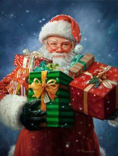 Santa Claus – The Art of Mark Missman Christmas Scenes, Christmas Mood, Christmas Pictures, Vintage Christmas, Christmas Crafts, Christmas Decorations, Holiday Pics, Santa Christmas, Illustration Noel