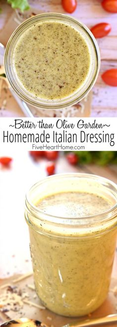 """Better than Olive Garden"" Homemade Italian Dressing ~ this all-natural, zesty s. ""Better than Olive Garden"" Homemade Italian Dressing ~ this all-natural, zesty salad dressing is economical, easy to Homemade Italian Dressing, Sweet Italian Dressing Recipe, Low Sodium Italian Dressing Recipe, Low Carb Salad Dressing, Salad Dressing Recipes, Salad Dressing Homemade, Homemade Salad Dressings, Italian Salad Recipes, Salad Dressing Healthy"