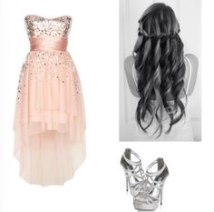 pink champagne dress, heels, and hairstyle