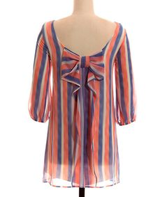 Another great find on #zulily! Orange & Blue Stripe Bow Tunic - Women by Coveted Clothing #zulilyfinds
