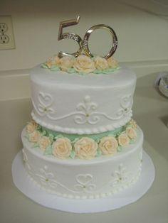 Small 2-tier 50th Anniversary cake