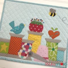 Mini Quilt of the Month – Laser Cut Kit by Stitches of Love Just Spoolin Around Mini of the Month Cute Quilts, Small Quilts, Easy Quilts, Mini Quilts, Mini Quilt Patterns, Applique Patterns, Applique Quilts, Patchwork Ideas, Sewing Patterns