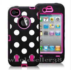 Black & Pink polka dot