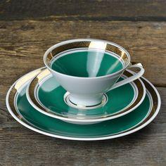1960'S GEHREN TEAL GREEN TEA CUP TRIO $45.00